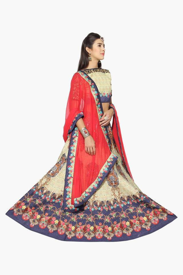 1efd99e996b14d ... Womens Semi Stitched Boat Neck Printed Zari Embroidered Lehenga Choli