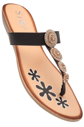 STOP Womens Black Zoe Slipon Flat Sandal