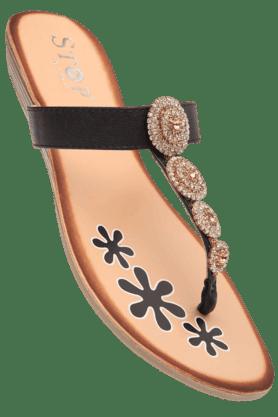 STOPWomens Black Zoe Slipon Flat Sandal