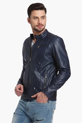Mens Solid Band Collar Jacket