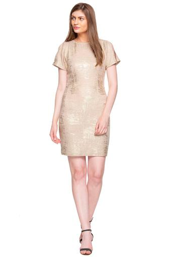 Womens Round Neck Shimmer Bodycon Dress