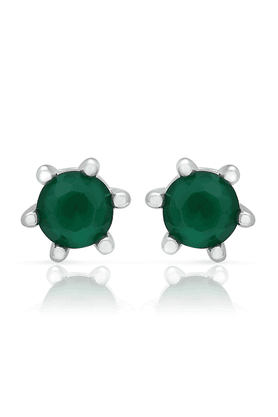 MAHI Mahi Rhodium Plated Emerald Studs With CZ Stones For Women ER1106488R