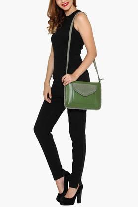 Womens Leather Zipper Closure Sling Bag