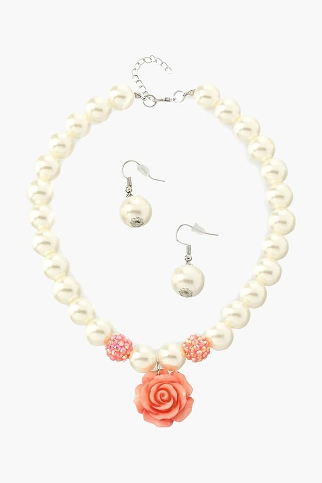Girls Beads Necklace and Earring Set (3 Years +)