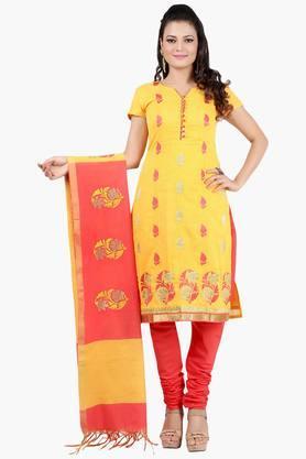 JASHNWomen Floral Motif Embroidered Chanderi Churidaar Kameez Dupatta