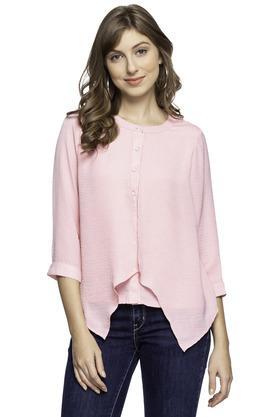 c0039d838bf9 X LATIN QUARTERS Womens Band Collar Slub Asymmetric Shirt