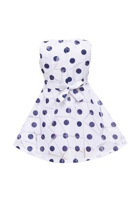 Girls Round Neck Polka Dot Flared Dress