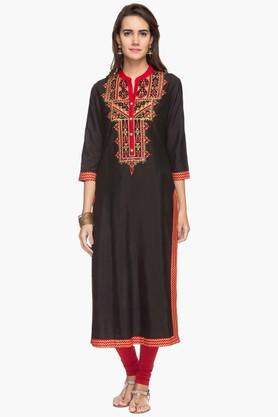 RS BY ROCKY STAR Womens Embroidered Mandarin Neck Kurta