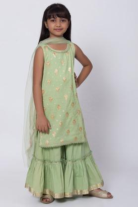 BIBA GIRLS - Green Salwar Kurta Set - 3