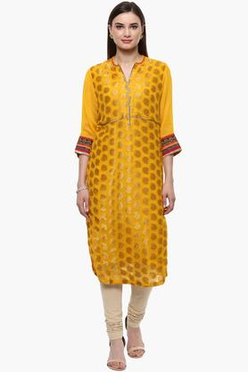 RANGRITI Womens Mandarin Neck Golden Weave Kurta (Plus Size)