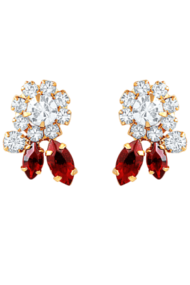 OVIYA Gold Plated Red Statement Earrings With Crystal For Women ER2193175G (Use Code FB15 To Get 15% Off On Purchase Of Rs.1200)