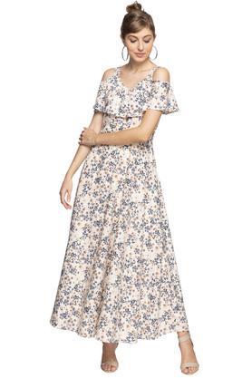 Womens V Neck Floral Print Maxi Dress