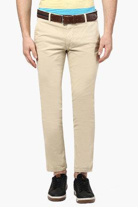 PARX Mens Tapered Fit 4 Pocket Solid Trousers  ... - 202134150