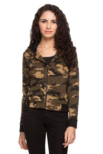 Womens Hooded Camouflage Jacket