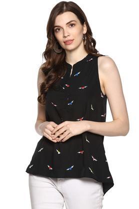 Womens Mandarin Collar Printed Top
