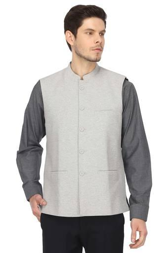 Mens Mandarin Collar Slub Nehru Jacket