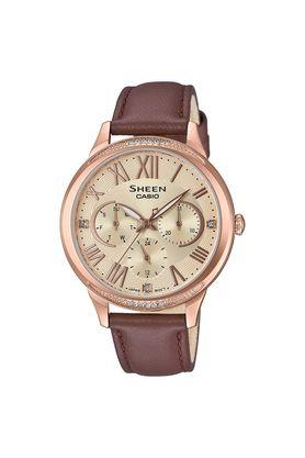 Womens Champagne Dial Leather Multi-Function Watch - SHE-3058PGL-9AUDF