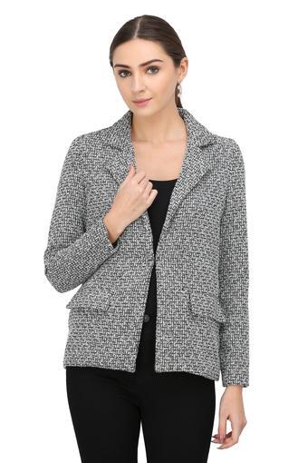 Womens Notched Lapel Textured Blazer