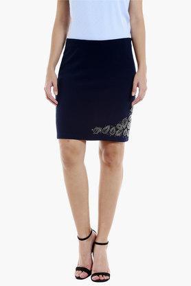 109FWomens Solid Embellished Short Skirt