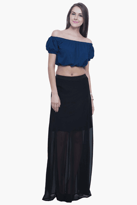 FABALLEY Womens Elasticised Maxi Skirt