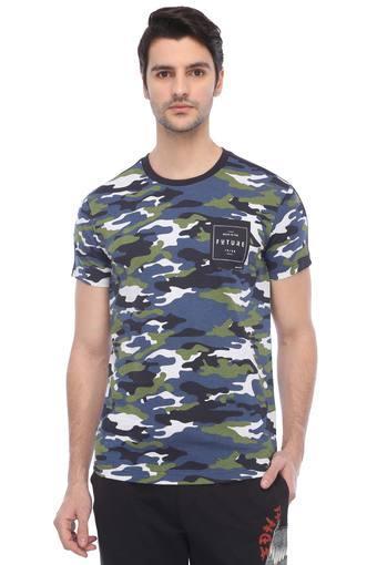 Mens Round Neck Printed Sports T-Shirt