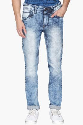 FLYING MACHINE Mens 5 Pocket Tapered Fit Stone Wash Jeans (Micheal Fit)