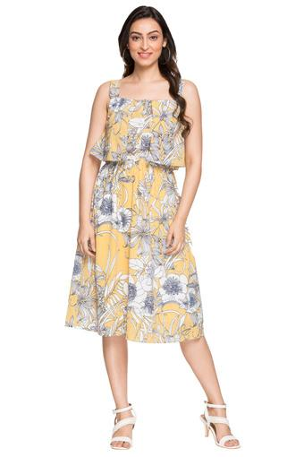 Womens Square Neck Floral Print Blouson Dress