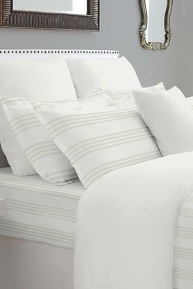 SPACESForever Classic Stripe Beige 400 TC Cotton King XL Bed Sheet With 4 Pillow Covers