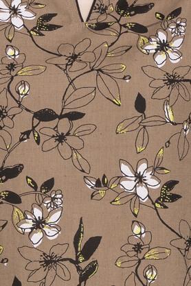Womens Notched Neck Floral Print Kurta