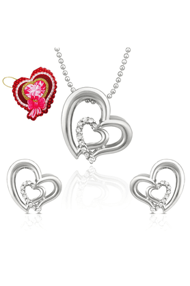 MAHI Mahi White Heart Pendant Set Made With Swarovski Elements With Heart Shaped Card For Women NL5104117RWhiCd