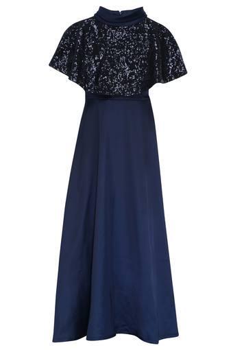 Girls High Neck Sequined Maxi Dress