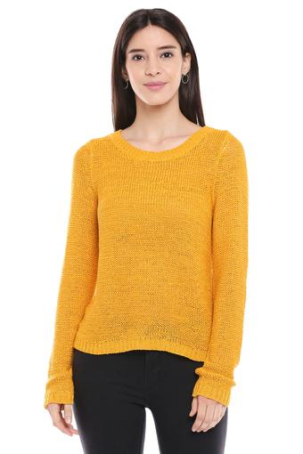 Womens Round Neck Solid Knitted Pullover
