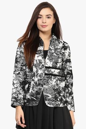 Womens Mandarin Neck Printed Winter Jacket