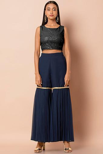 Womens Solid with Taping Sharara Pants