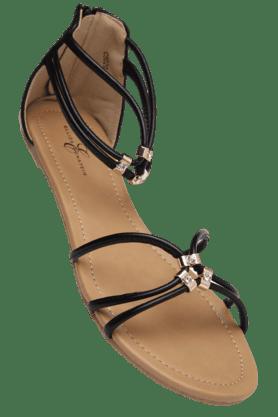 ELLIZA DONATEINWomens Zipper Closure Flat Sandal