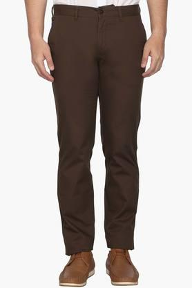 LOUIS PHILIPPE SPORTS Mens Slim Fit 4 Pocket Solid Trousers (Steven Tapered Fit)  ...