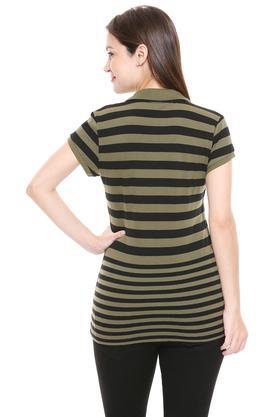 Womens Striped Polo T-Shirt