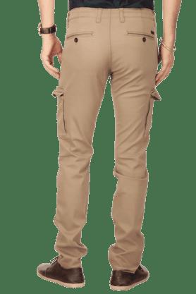 Mens 7 Pocket Slim Fit Solid Cargos