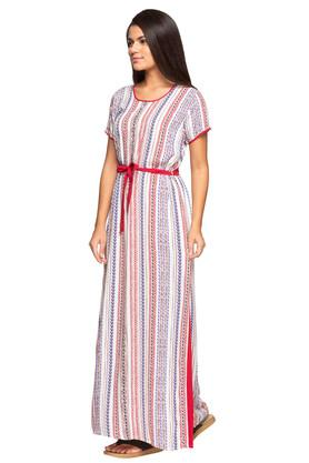 Womens Round Neck Printed Night Gown