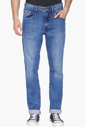 U.S. POLO ASSN. DENIM Mens 5 Pocket Slim Fit Mild Wash Jeans (Wood Fit)