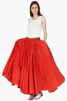 LABEL RITU KUMAR Womens Flared Solid Long Skirt