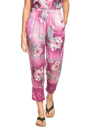 Womens Round Neck Floral Print Top and Pyjamas Set