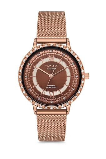 Womens Sparkle Brown Dial Alloy Analogue Watch - FA9-SPM02R58I