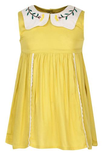 Girls Peter Pan Collar Embroidered Flared Dress