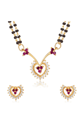 MAHI Mahi Gold Plated Wedlock Mangalsutra Set With CZ & Ruby For Women NL1103518G2