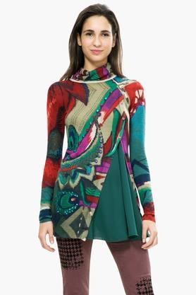 DESIGUAL Womens Turtle Neck Printed Sweater