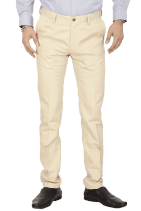 ARROW SPORTMens Flat Front Slim Fit Solid Formal Trousers