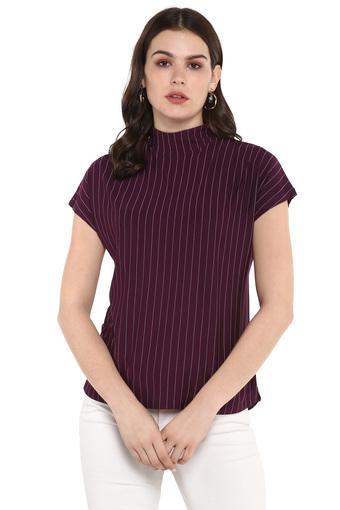 Womens High Neck Stripe Top
