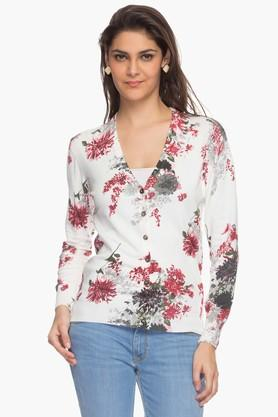 ONER Womens V Neck Printed Cardigan - 201524990