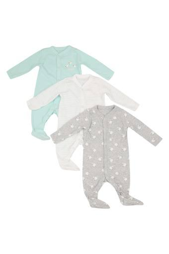 Kids V Neck Printed and Solid Sleepsuit - Pack of 3